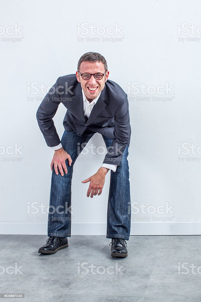 confused businessman with eyeglasses having issue at management vision stock photo