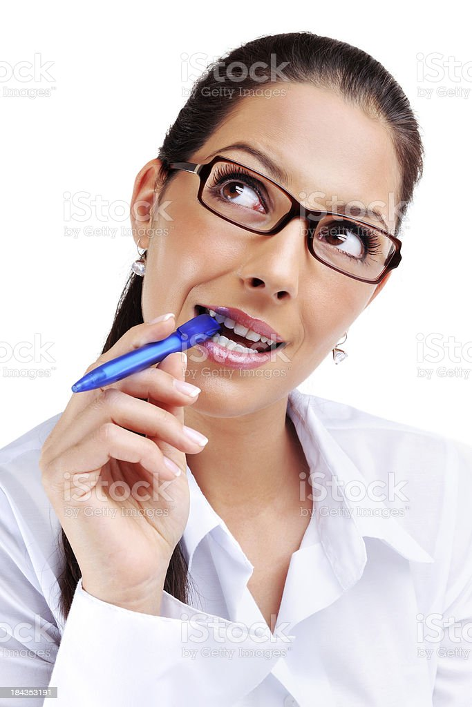Confused businesswoman royalty-free stock photo