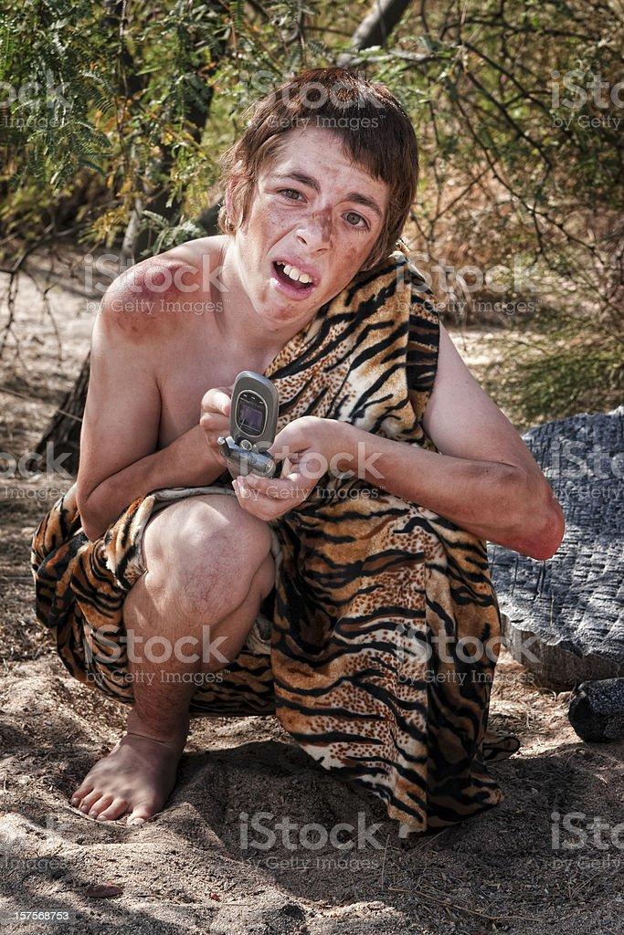 Confused Caveboy stock photo