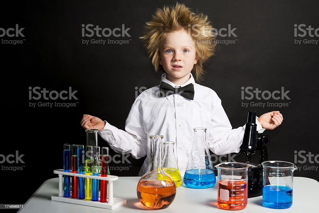 Confused Child Scientist stock photo