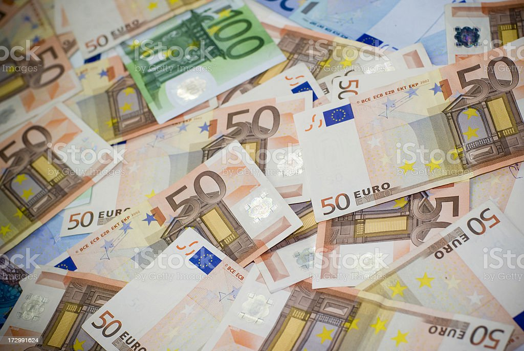 Confused Euro banknotes royalty-free stock photo