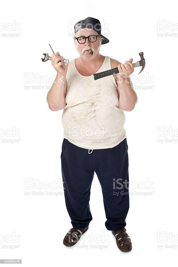 Confused handyman stock photo