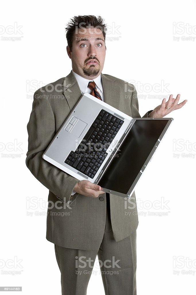 Confused laptop man royalty-free stock photo
