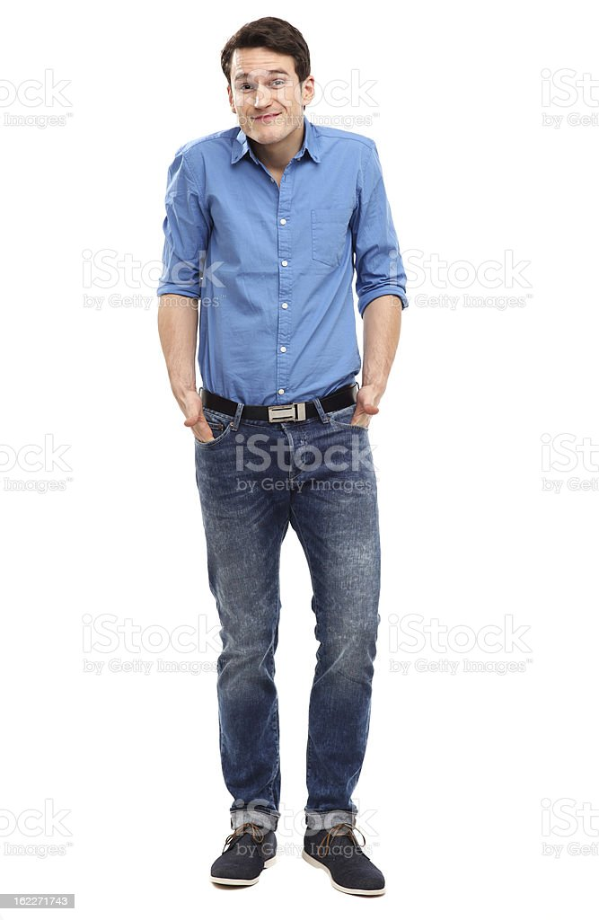 Confused looking man stock photo