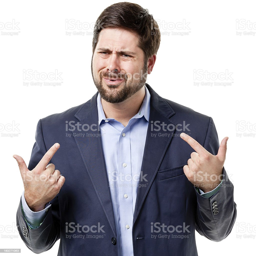 Confused Man Points At Himself stock photo