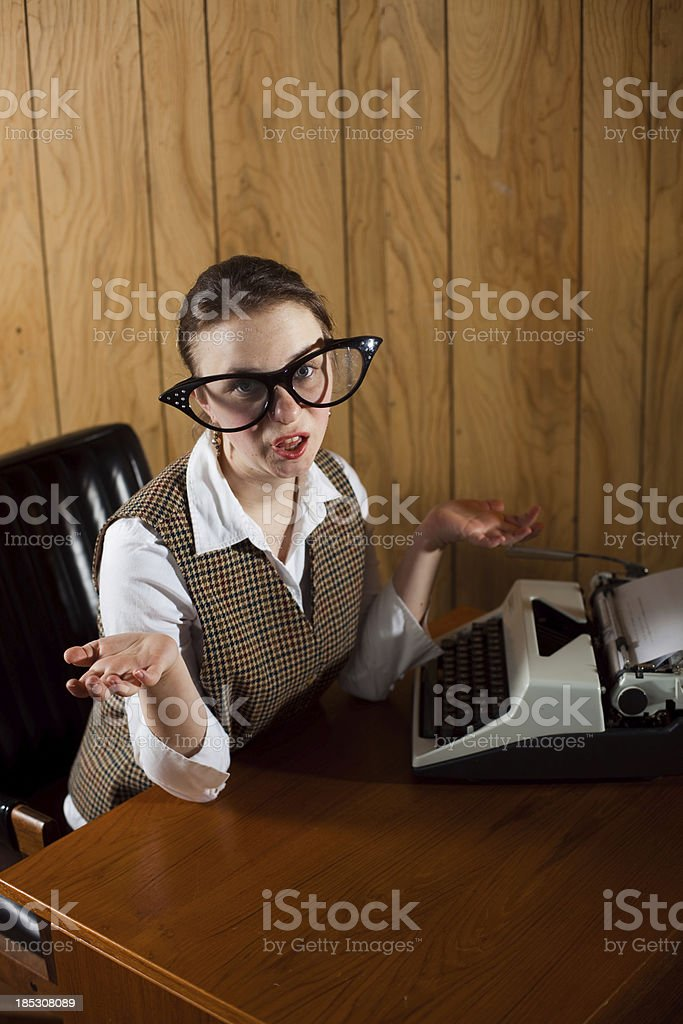 Confused Office Secretary royalty-free stock photo