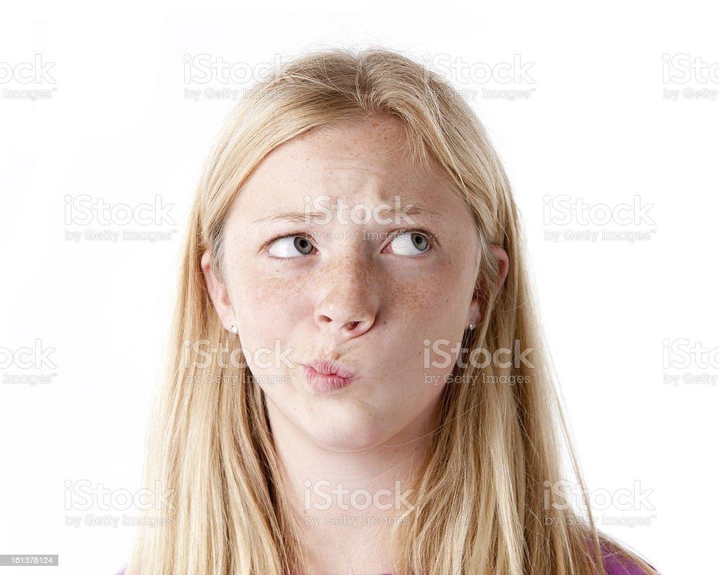 Confused Preteen Caucasion Girl Closeup Headshot stock photo