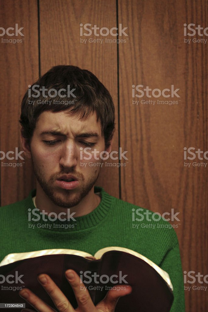 Confused Studying Young Man royalty-free stock photo
