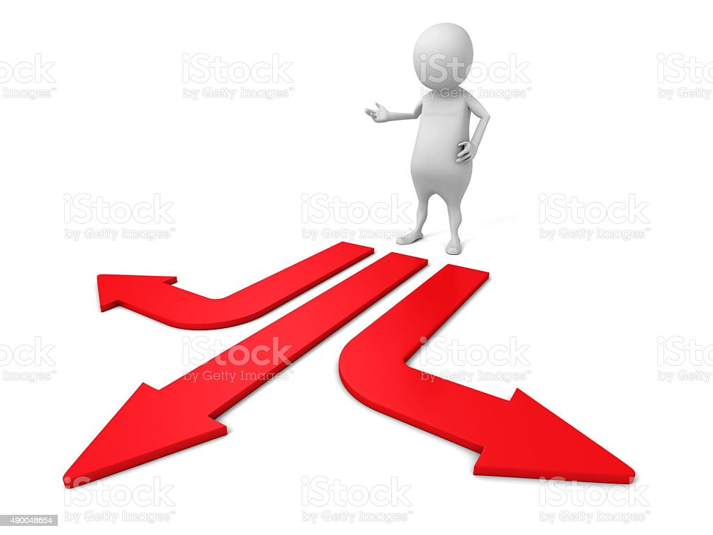 Confused White 3d Man Choice The Direction Arrow stock photo