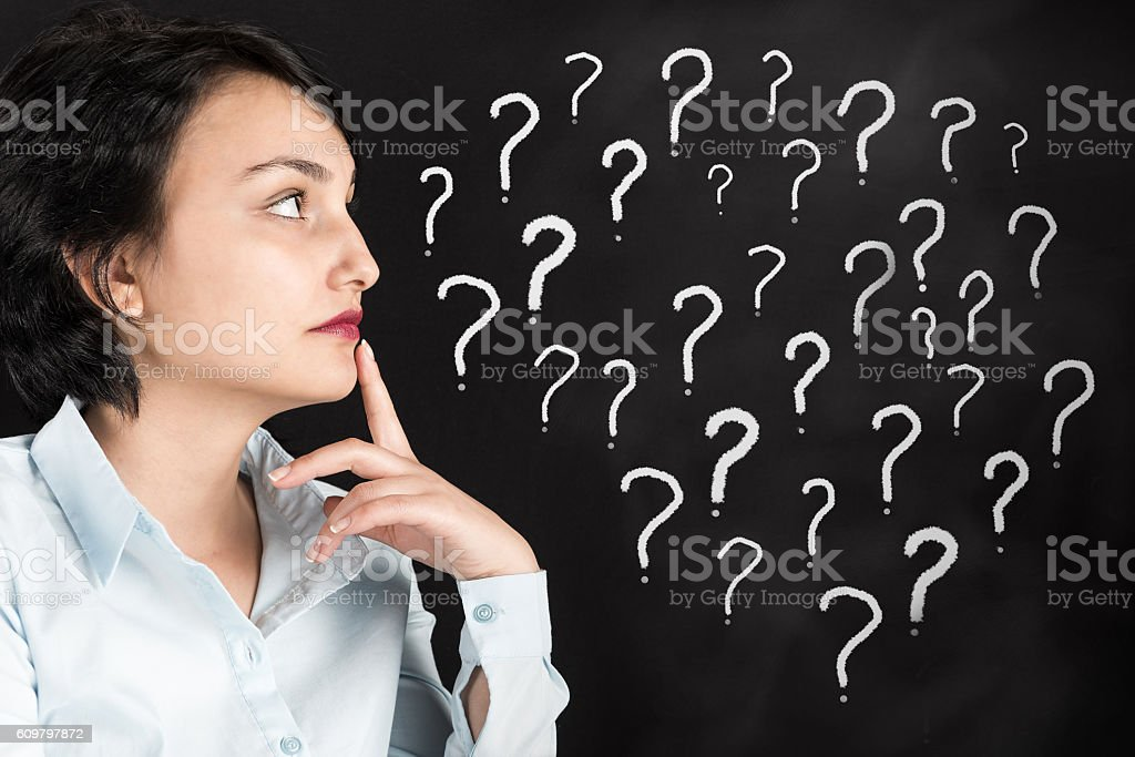 Confused woman and question marks stock photo
