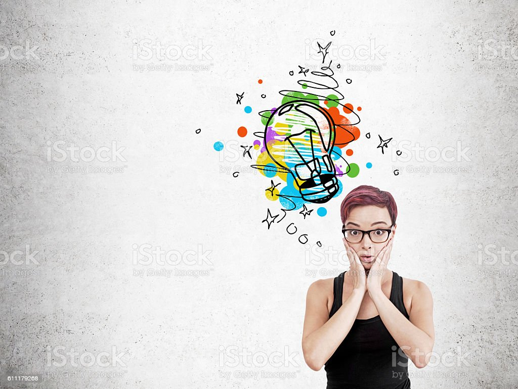Confused woman found solution stock photo