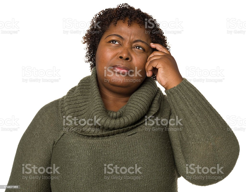 Confused Woman Scratching Head royalty-free stock photo