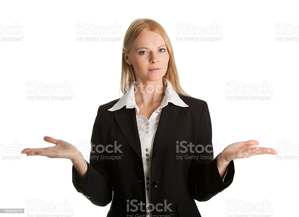Confused young business woman royalty-free stock photo