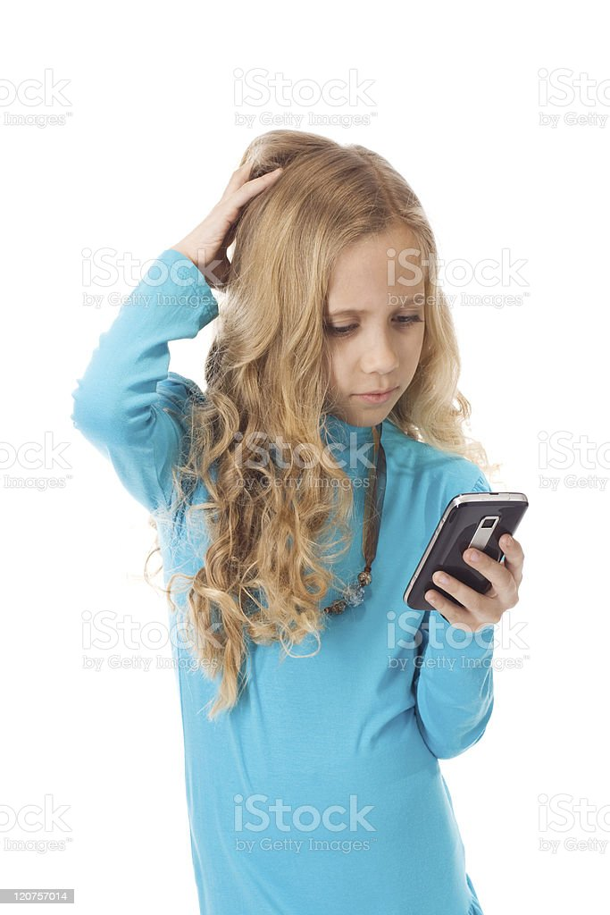 Confused young girl stock photo