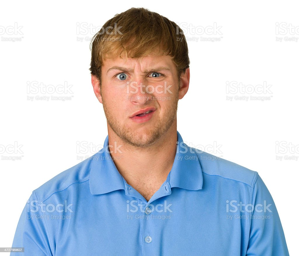 Confused Young Man, Isolated Portrait stock photo