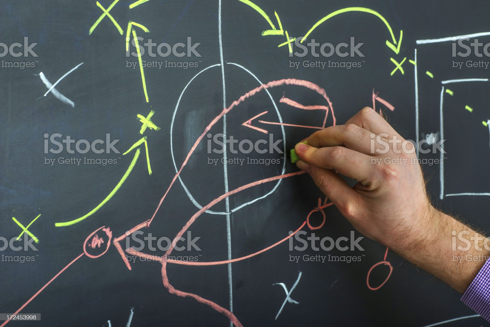 confusing strategy on blackboard with hand royalty-free stock photo