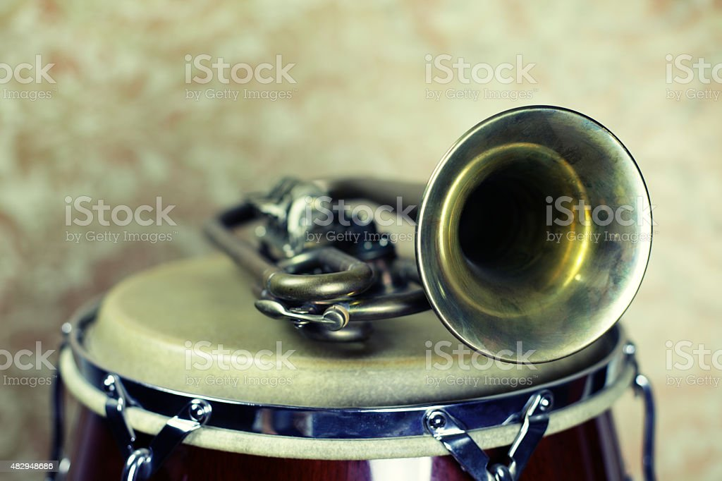 Conga Drum and Trumpet stock photo