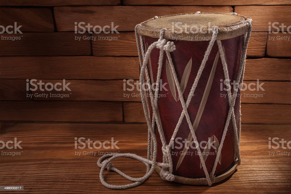 conga percussion drum instrument on wooden boards stock photo