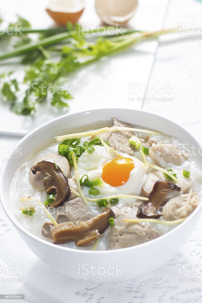 Congee, the traditional Chinese breakfast stock photo