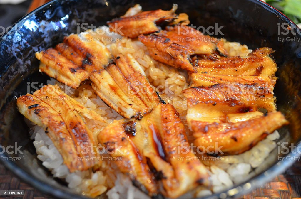 Conger rice bowl, a famous Japanese food in Hiroshima. stock photo