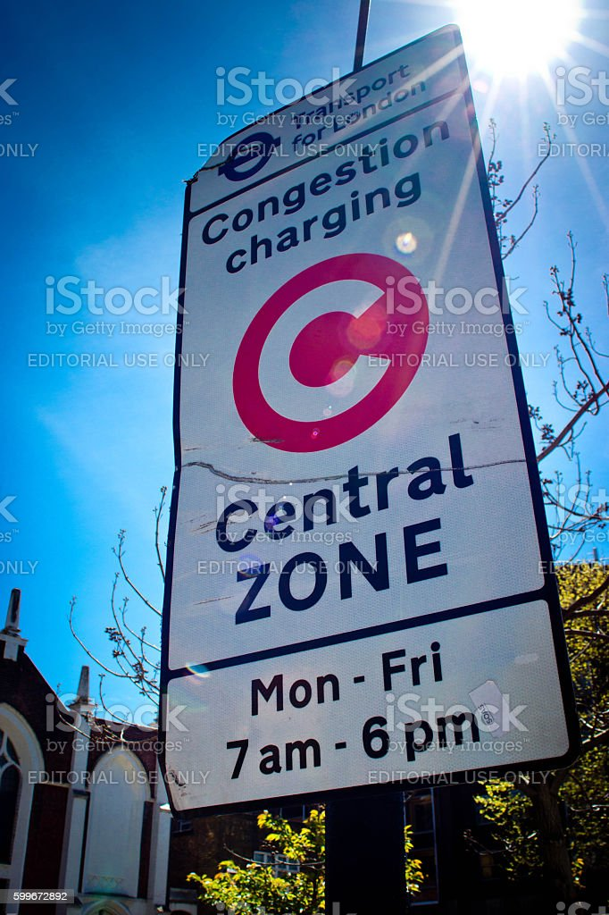 Congestion charge sign stock photo