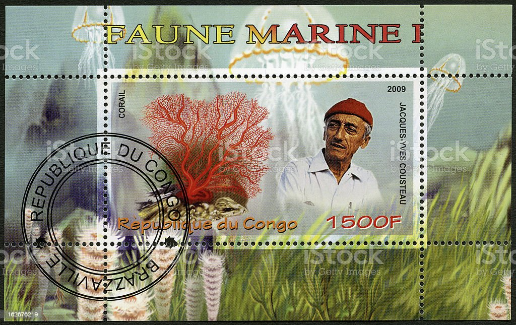 Congo 2009 shows coral and Jacques Cousteau (1910-1997) stock photo