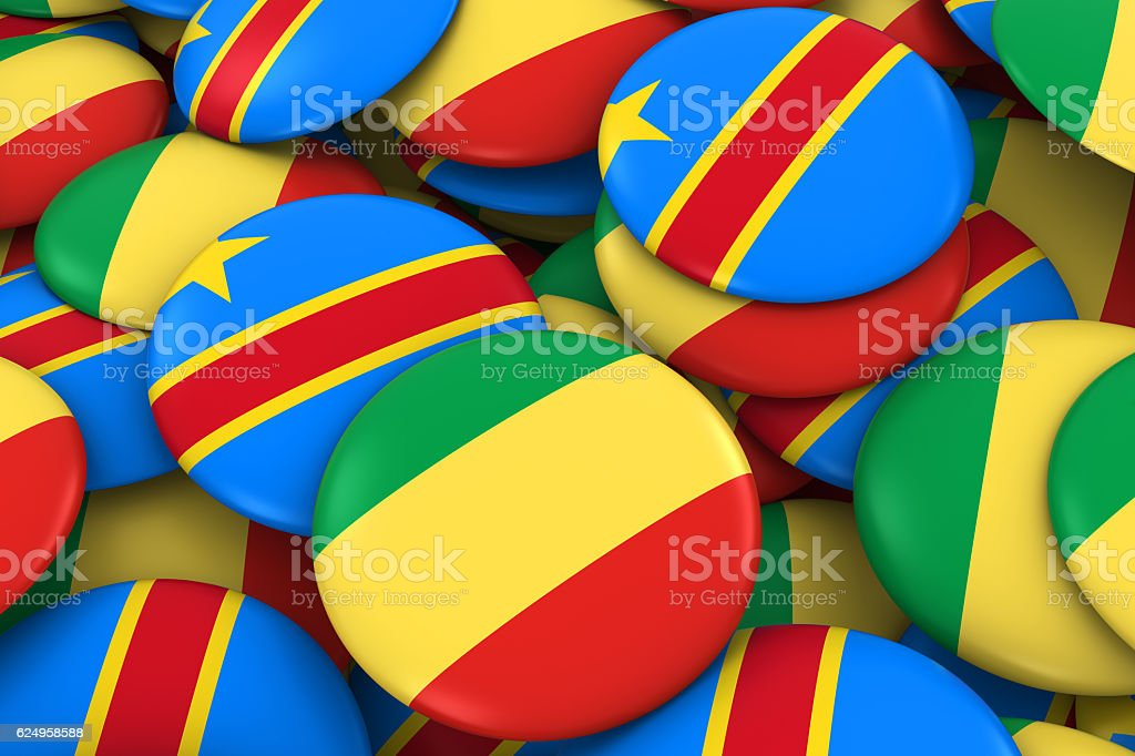 Congo and DR Congo Flag Badges Background stock photo