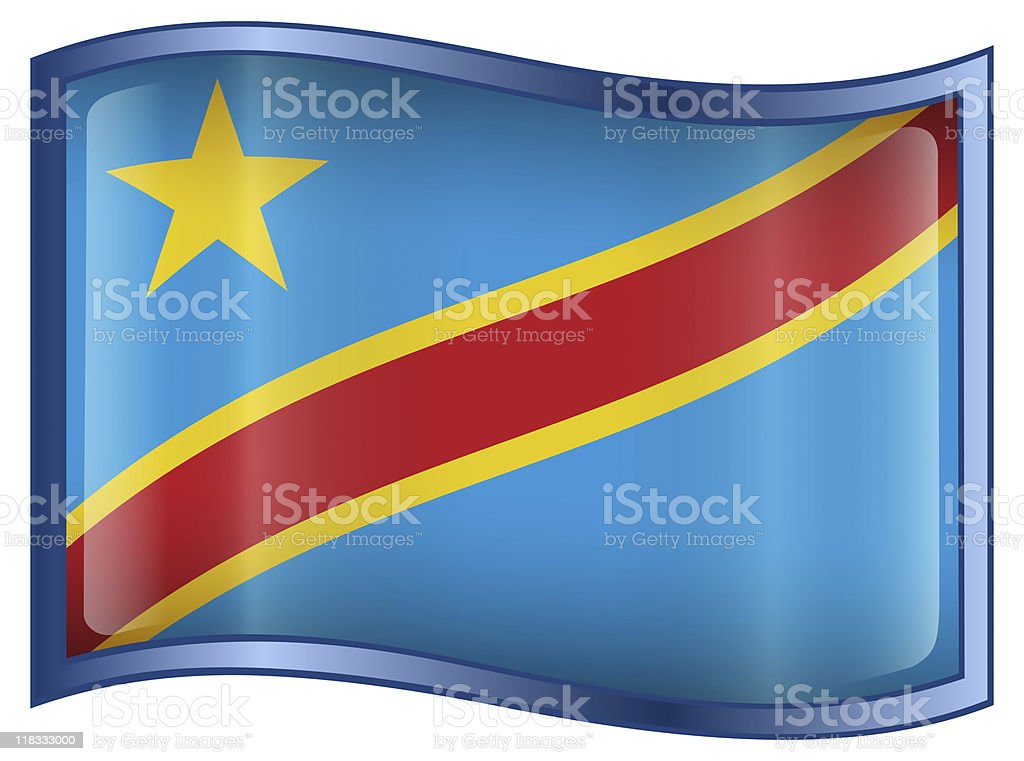 Congo Flag Icon, isolated on white background stock photo