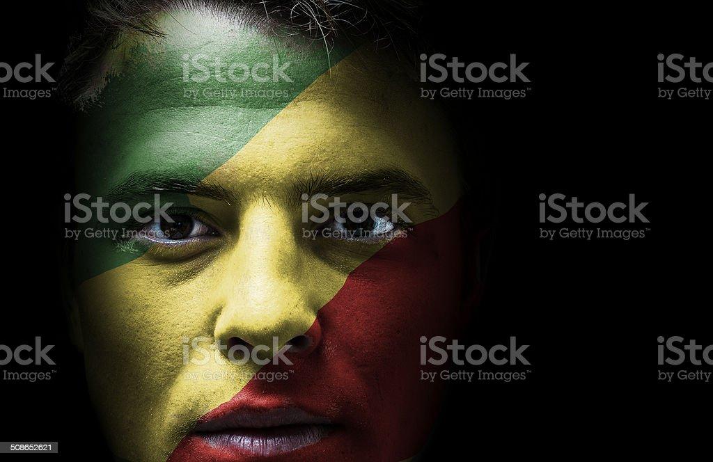 Congo flag on face stock photo
