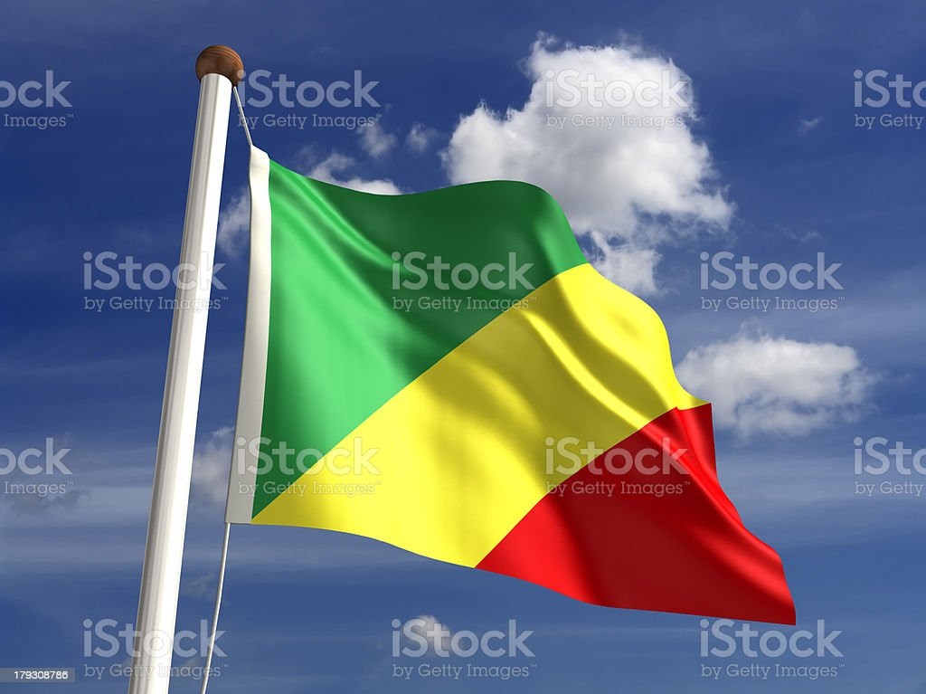 Congo flag (with clipping path) stock photo