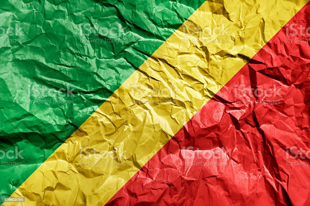 Congo Republic flag painted on crumpled paper background stock photo