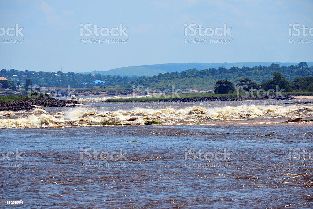 Congo river at Livingstone Falls / Chutes du Djou? stock photo