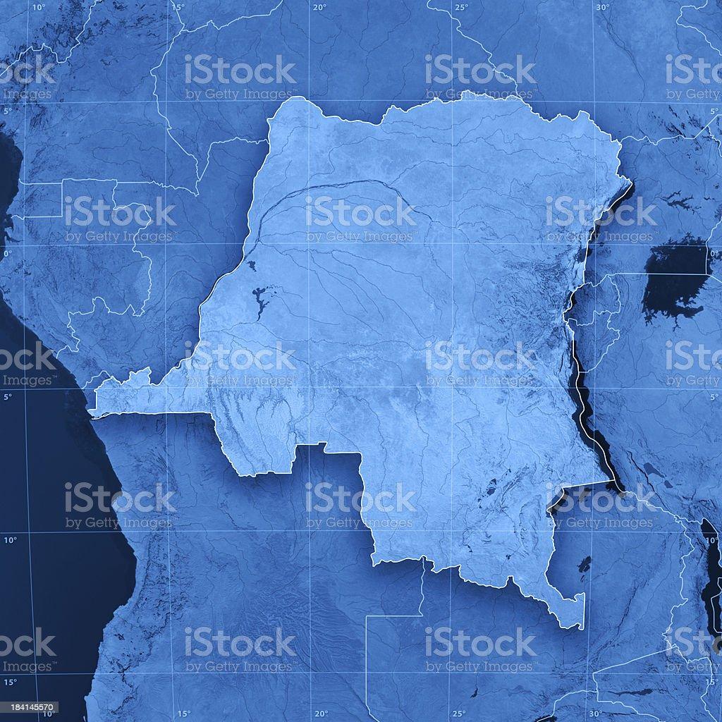 DR Congo Topographic Map stock photo
