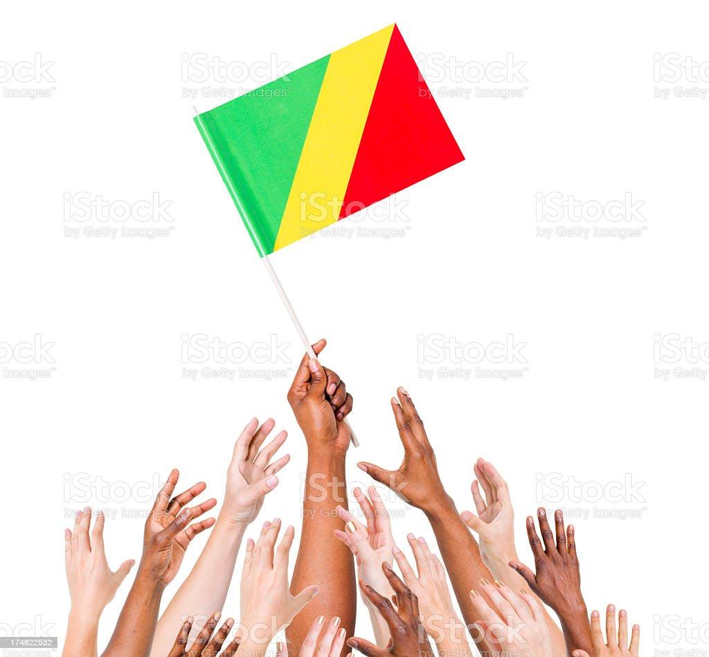 Congo-Brazzaville Flag royalty-free stock photo