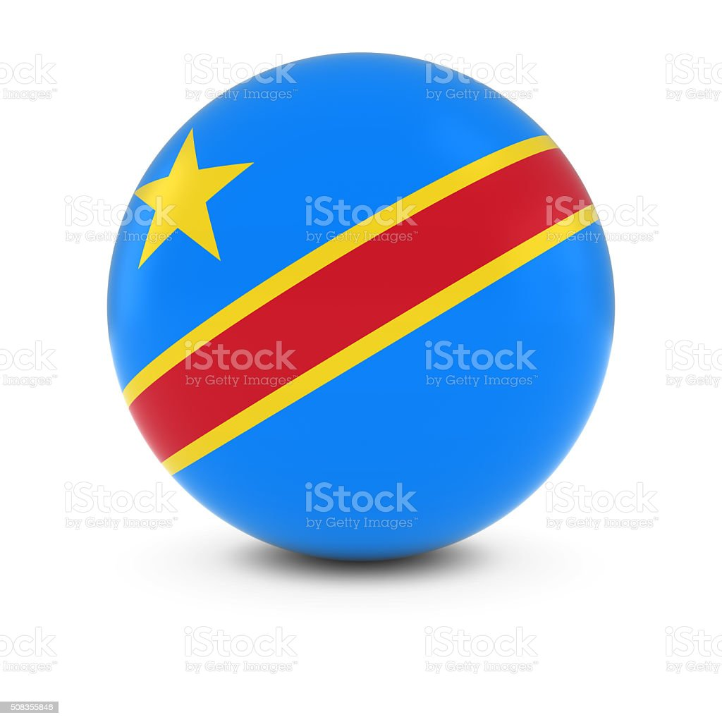 Congolese Flag Ball - Flag of DR Congo on Sphere stock photo