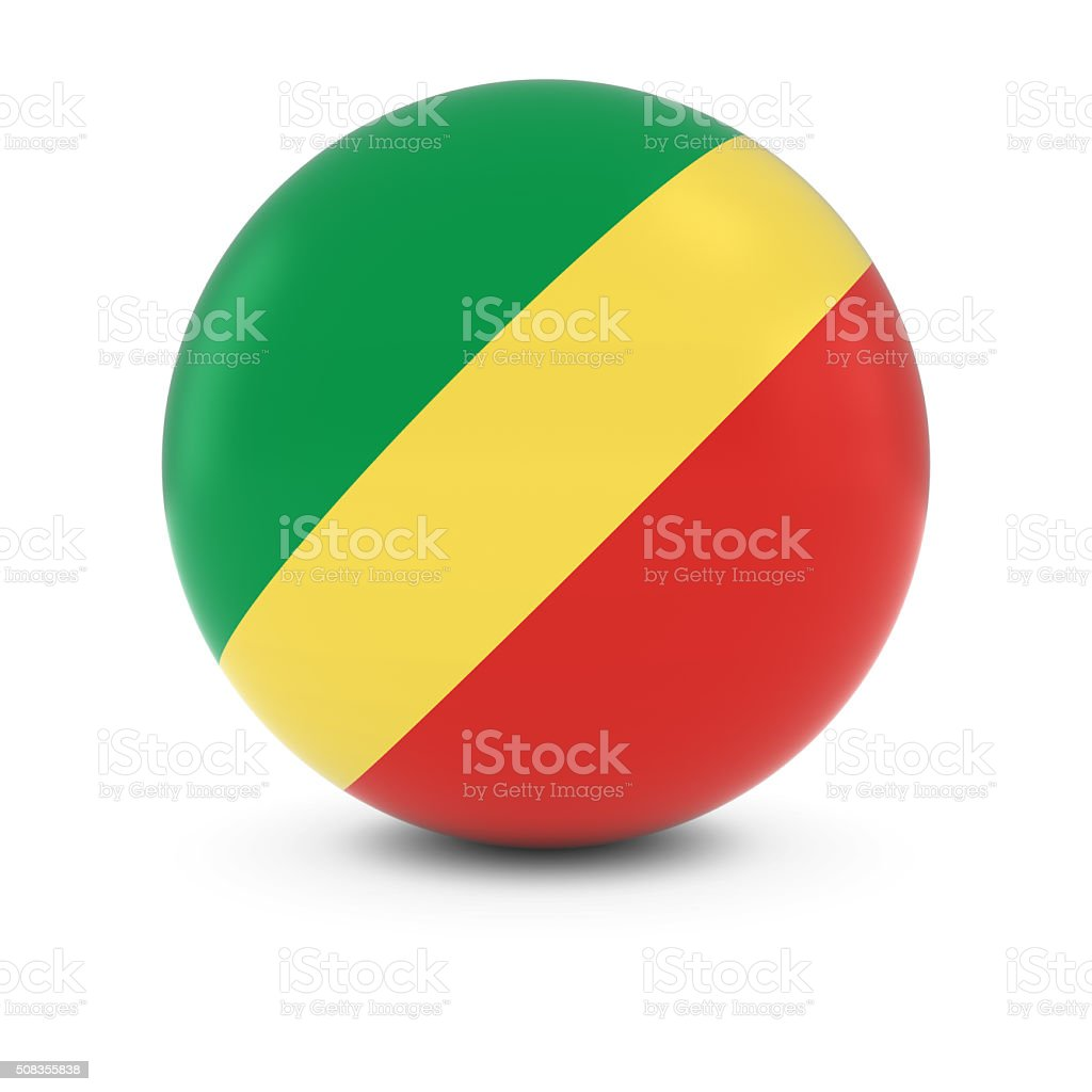 Congolese Flag Ball - Flag of the Congo on Sphere stock photo