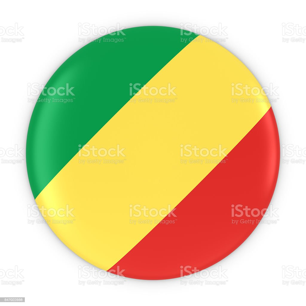 Congolese Flag Button - Flag of Congo Badge 3D Illustration stock photo