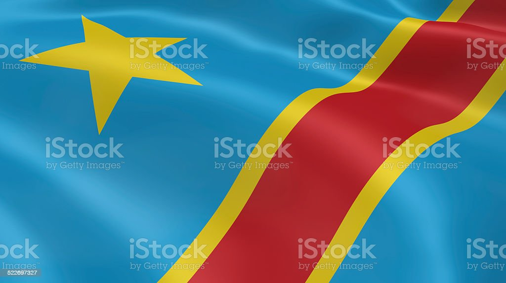 Congolese flag in the wind stock photo
