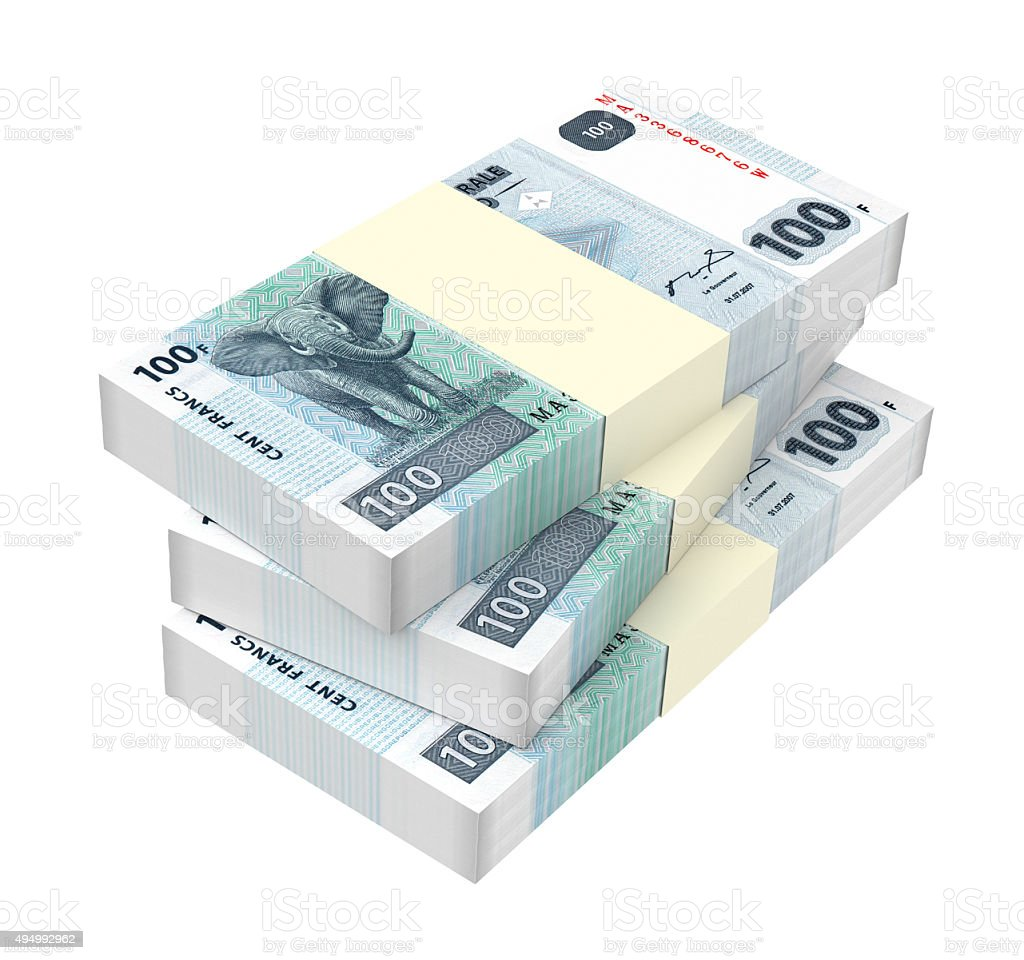 Congolese francs bills isolated on white background. stock photo