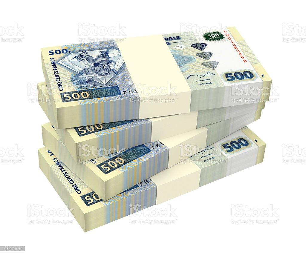 Congolese francs bills isolated on white background. stock photo