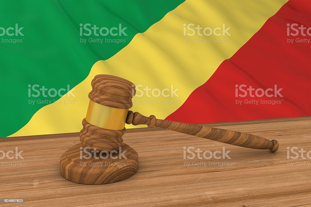 Congolese Law Concept - Flag of Congo Behind Judge's Gavel stock photo