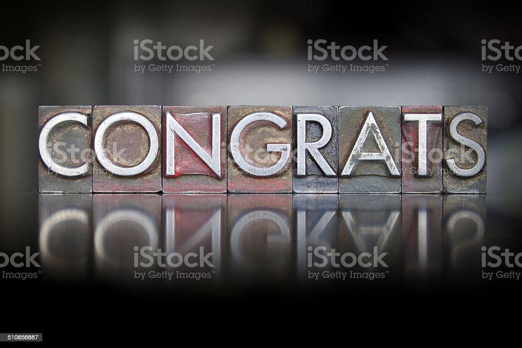 Congrats Letterpress stock photo