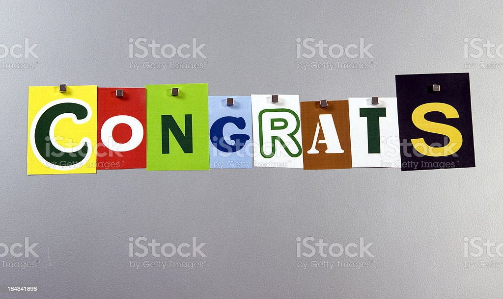 Congrats pinned on a silver metal pin board stock photo