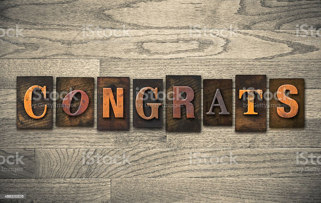 Congrats Wooden Letterpress Concept stock photo