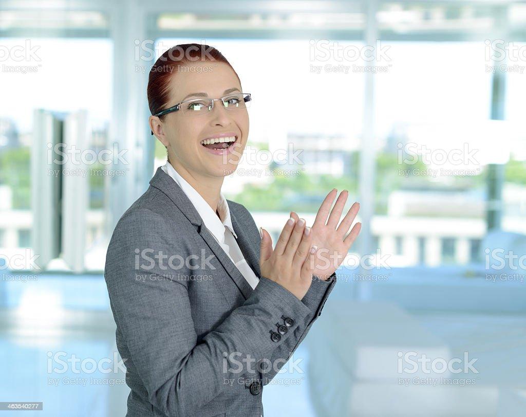 congratulating business woman stock photo