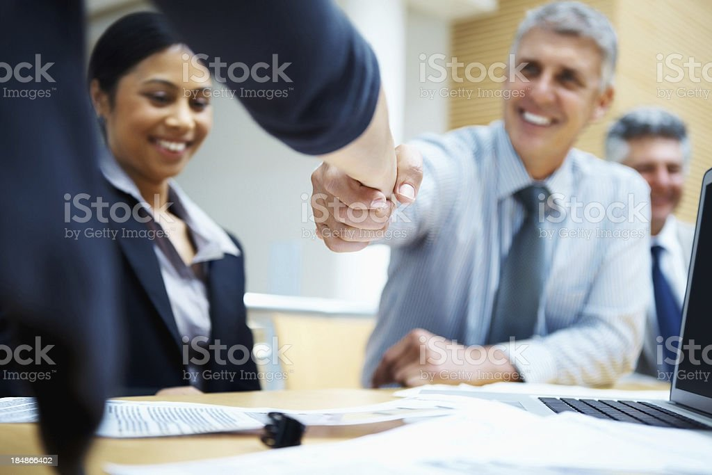 Congratulating on a project royalty-free stock photo