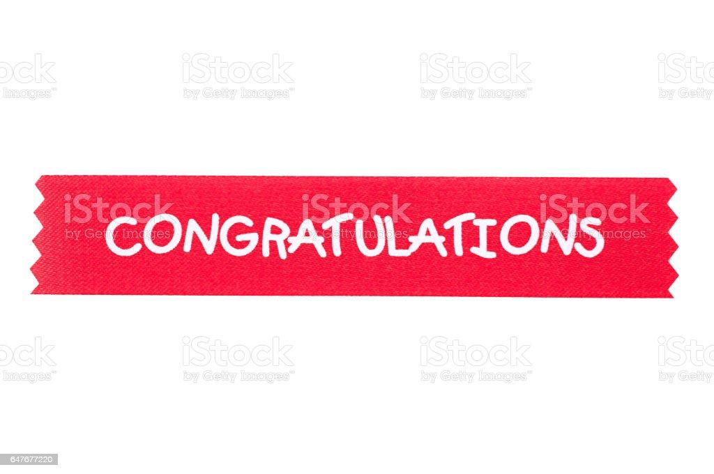congratulation ribbon for background stock photo