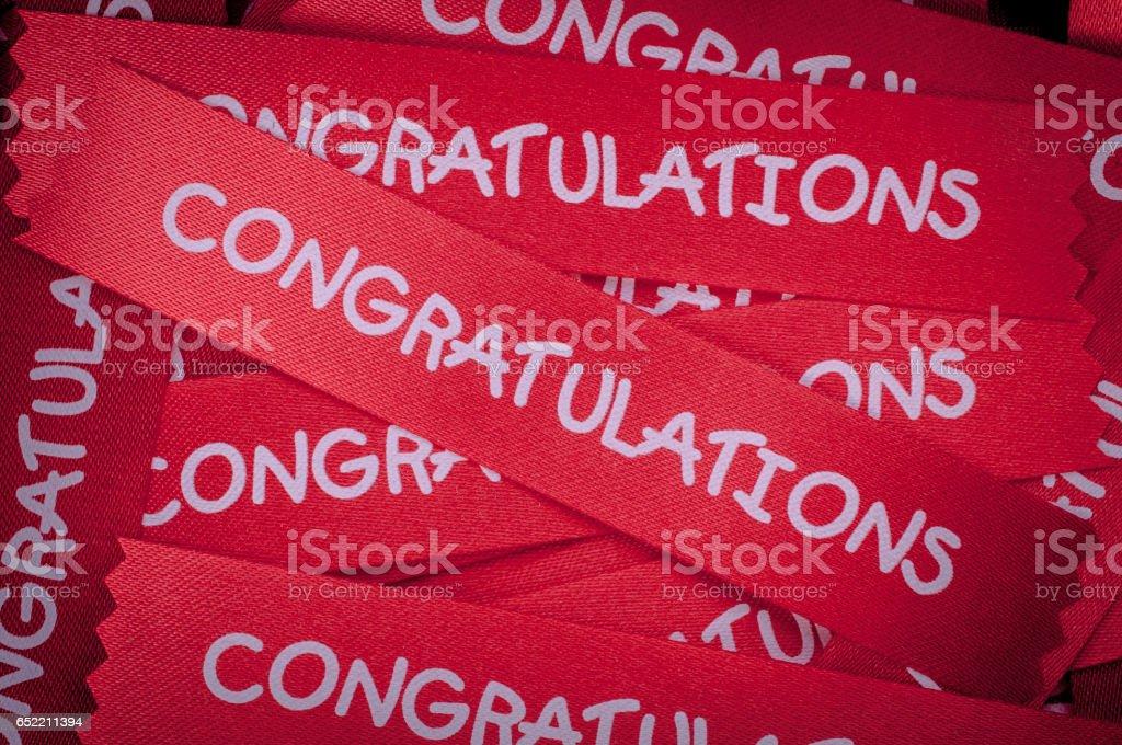 congratulation ribon for background stock photo