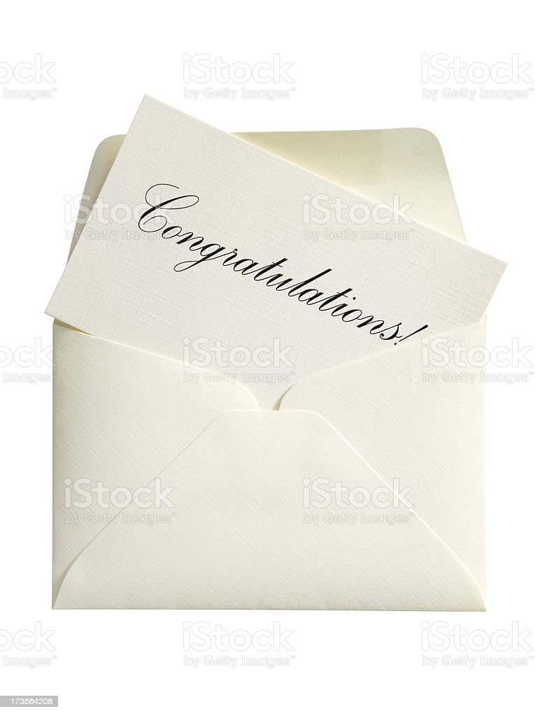 Congratulations Card & Envelope, with Clipping Path royalty-free stock photo