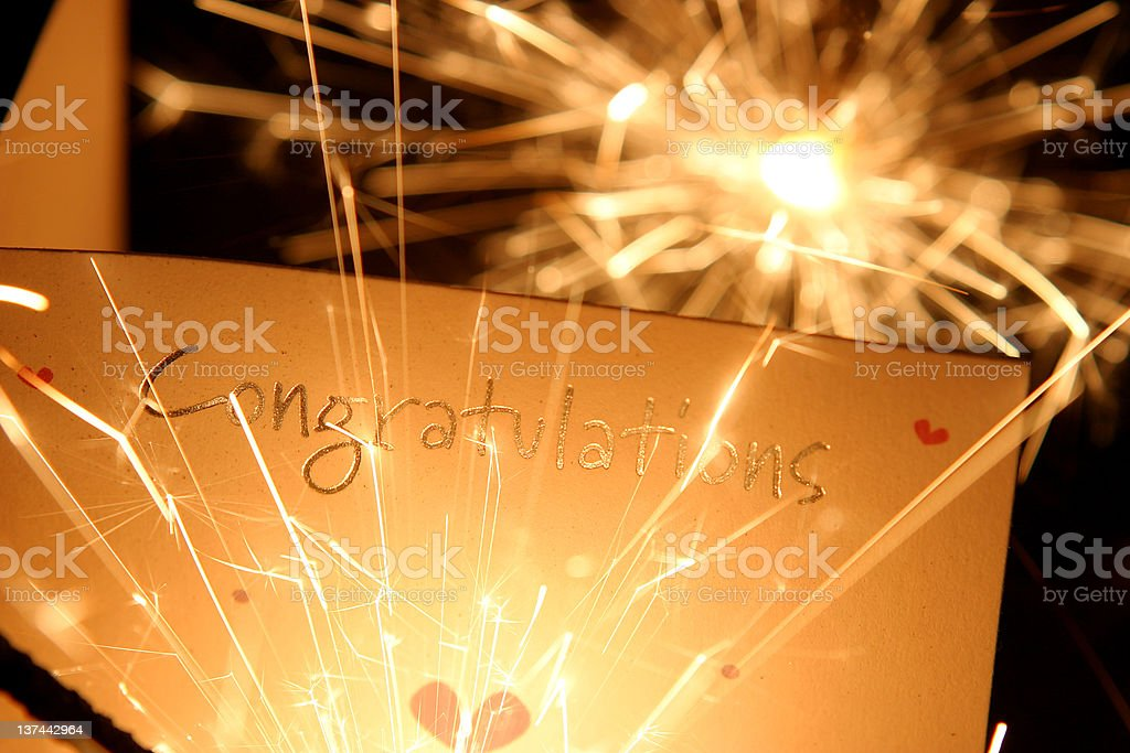 Congratulations card with sparklers royalty-free stock photo